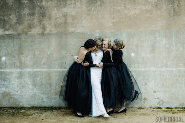 Long Sleeves Jersey Tulle Backless Bridesmaid Dresses, PD0847