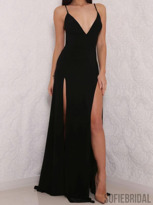 Spaghetti Black Side Slit Prom Dresses, Simple Cheap Prom Dresses, Long Prom Dresses, PD0664