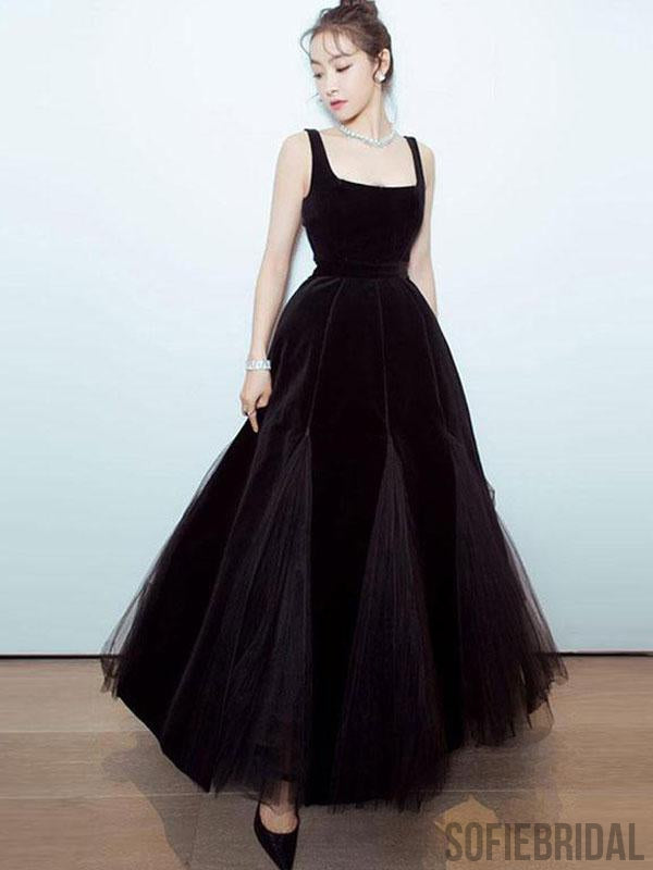 Square Neckline Long Ankle Length Velvet Tulle Prom Dresses, Evening Dresses , PD0785