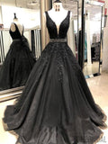 Black V-neck Lace Appliques A-line Prom Dresses, Beaded Prom Dresses, PD0750