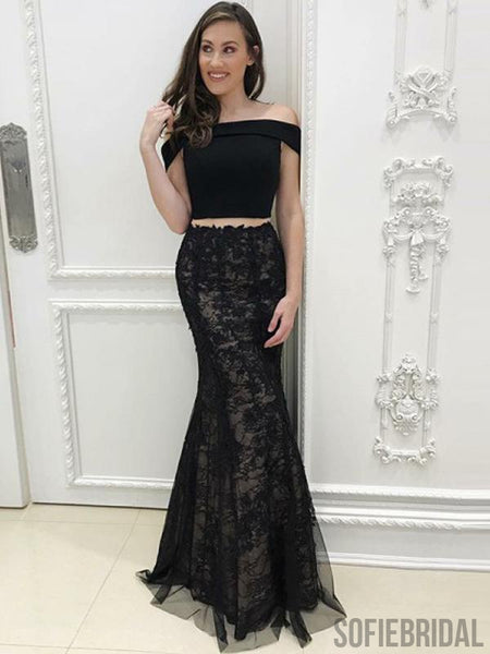 2 Pieces Black Prom Dresses, Lace Prom Dresses, Cheap Long Prom Dresses, PD0727