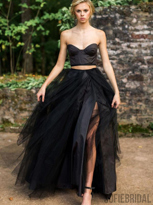 2 Pieces Black Satin Top Tulle Prom Dresses, Unique Black Prom Dresses, PD0888