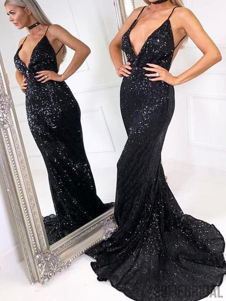436ce4098b6 Sexy Backless Long Mermaid Black Sequin Prom Dresses