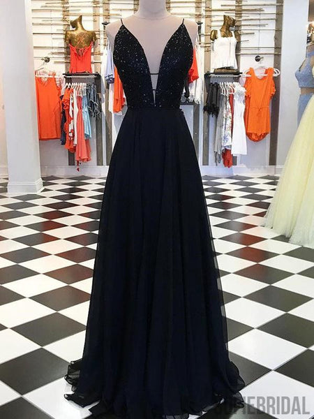 Spaghetti Long A-line Chiffon Beaded Black Prom Dresses, PD0887