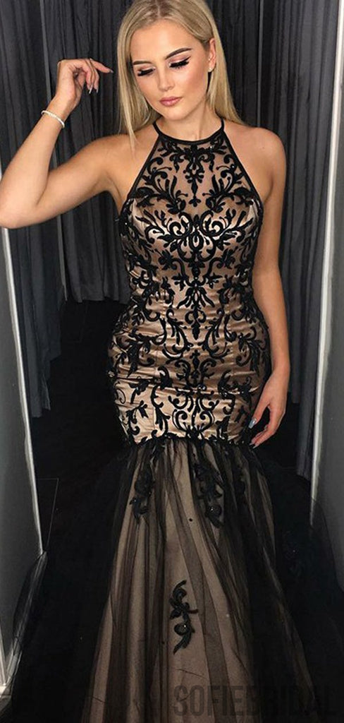 Halter Black Lace Mermaid Long Prom Dresses, PD0817