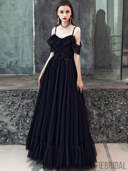 Long Black Prom Dresses, A-line Appliques Prom Dresses, Cheap Prom Dresses, PD0728
