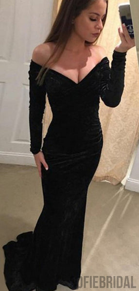 Off Shoulder Long Sleeves Mermaid Black Velvet Prom Dresses, PD0861