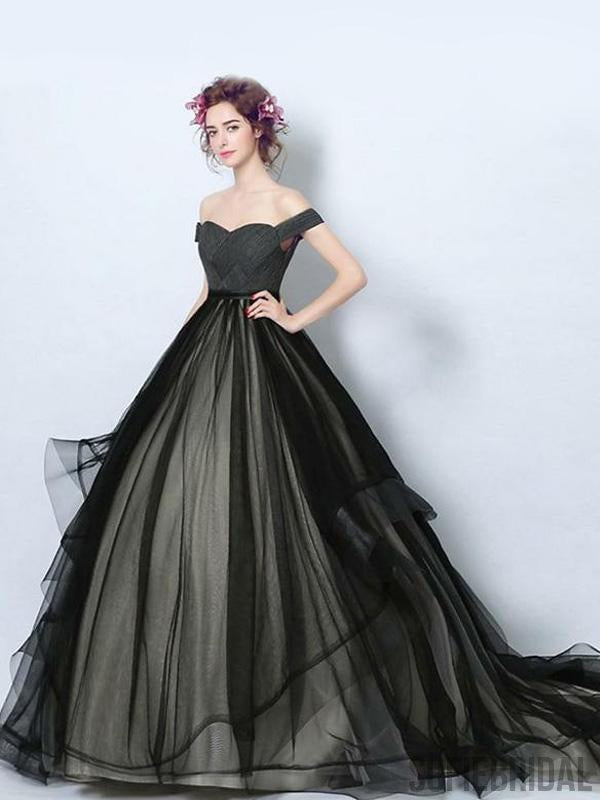 Off Shoulder Long A-line Black Tulle Simple Prom Dresses, PD0960