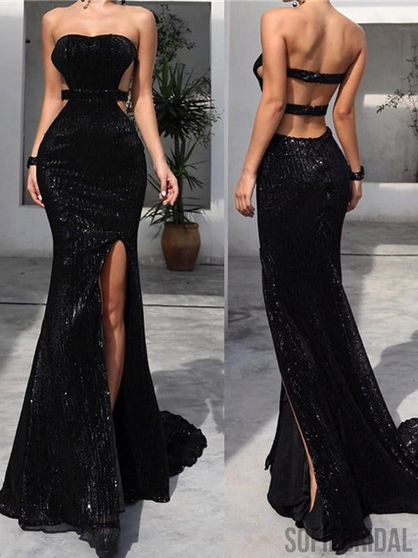 e773c59525047 Strapless Long Mermaid Sexy Black Sequin Side Slit Prom Dresses, PD087 –  SofieBridal