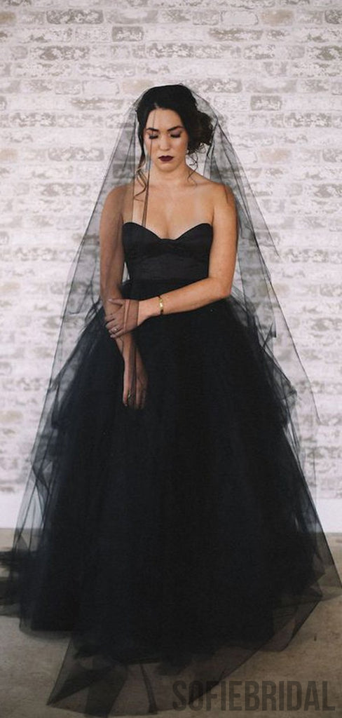 Special Sweetheart Black Tulle Satin Long Wedding Dresses, WD0301