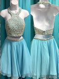 Cheap Halter Two Piece Rhinestone Blue Homecoming Dresses 2018, CM498