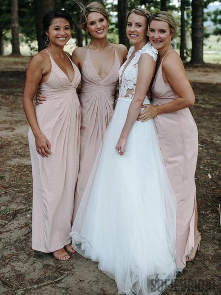 V-neck Blush Pink  Long Sheath Bridesmaid Dresses, PD0853