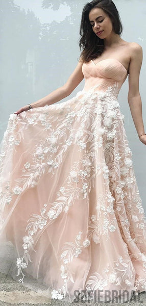 Sweetheart Long Prom Dresses, Blush Pink Prom Dresses, Lace Prom Dresses, PD0739
