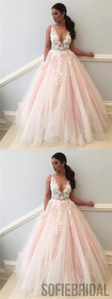 V-neck Prom Dresses, Appliques Prom Dresses, Blush Pink Prom Dresses, Newest Prom Dresses, PD0656