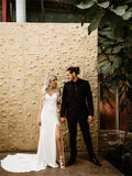 Sheath V-neck Sleeveless Simple Cheap Long Backless Wedding Dresses With Train, WD0480