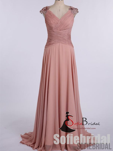 Dusty Pink Long A-line Chiffon Appliques Bridesmaid Dresses, PD0900