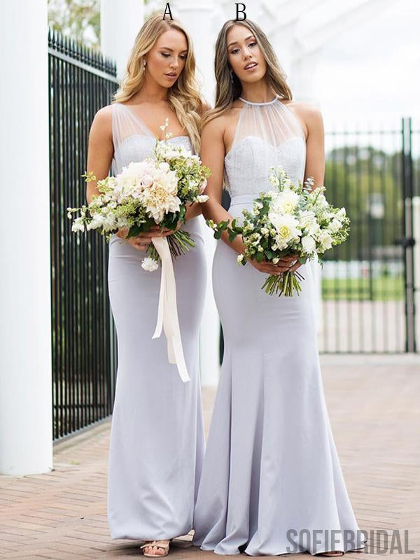 Mismatched Long Mermaid Lace Tulle Bridesmaid Dresses, PD0916