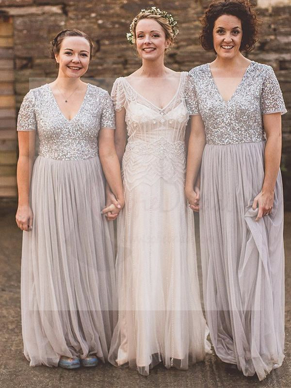 Short Sleeve Sequin Top Tulle Bridesmaid Dresses, Grey Bridesmaid Dresses, Bridesmaid Dresses, WG01