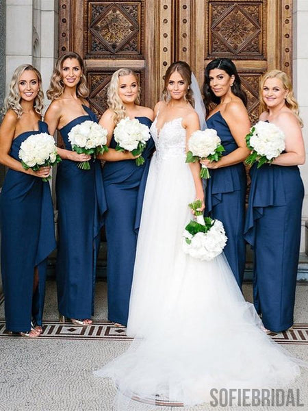 Lovely Knot Long Sheath Front Slit Bridesmaid Dresses, PD0911