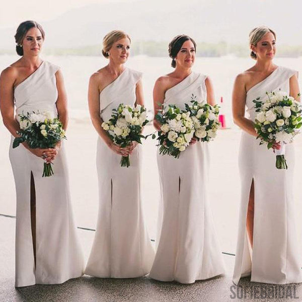 One Shoulder White Bridesmaid Dresses, Side Slit Bridesmaid Dresses, Long Bridesmaid Dresses, PD0706