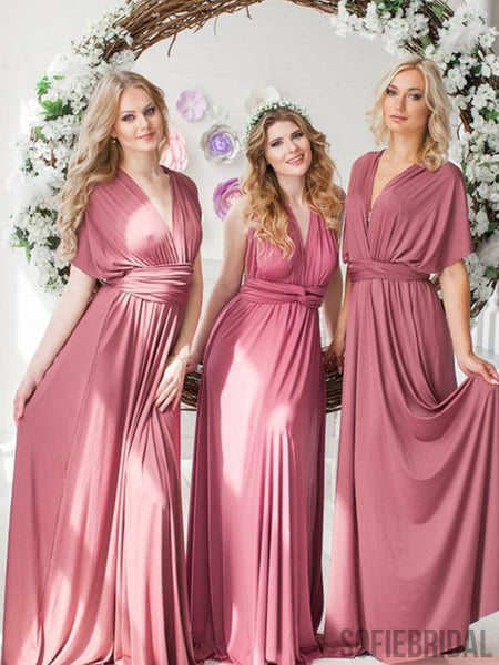 Dusty Rose Long A-line Convertible Jersey Bridesmaid Dresses, PD0913