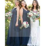 Simple A-line Tulle Bridesmaid Dresses, Navy Bridesmaid Dresses, Bridesmaid Dresses, PD0485