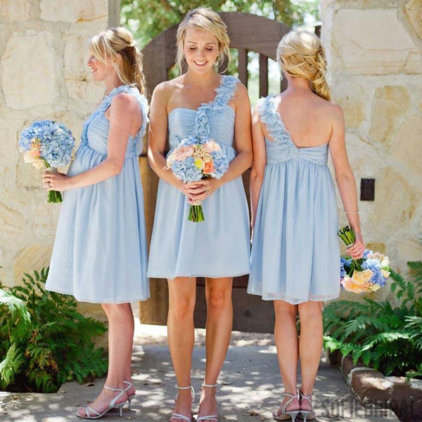 One Shoulder Light Blue Bridesmaid Dresses, Short Bridesmaid Dresses, Bridesmaid Dresses, PD0497