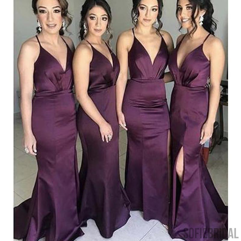 Mermaid Bridesmaid Dresses, Side Slit Bridesmaid Dresses, Long Bridesmaid Dresses, PD0704