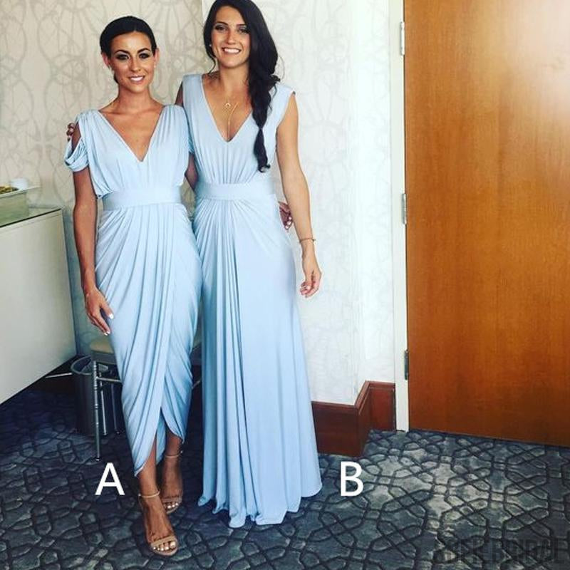 Mismatched Light Blue Jersey Bridesmaid Dresses, Cheap Bridesmaid Dresses, Bridesmaid Dresses, PD0276