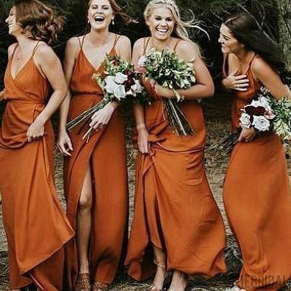 V-neck Side Slit Prom Dresses, Long Bridesmaid Dresses, Fall Wedding Bridesmaid Dresses, PD0699