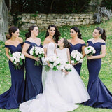 Off Shoulder Navy Bridesmaid Dresses, Mermaid Bridesmaid Dresses, Long Bridesmaid Dresses, WG108