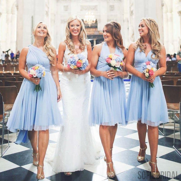 Convertible Bridesmaid Dresses, Light Blue Bridesmaid Dresses, Cheap Bridesmaid Dresses, PD0390