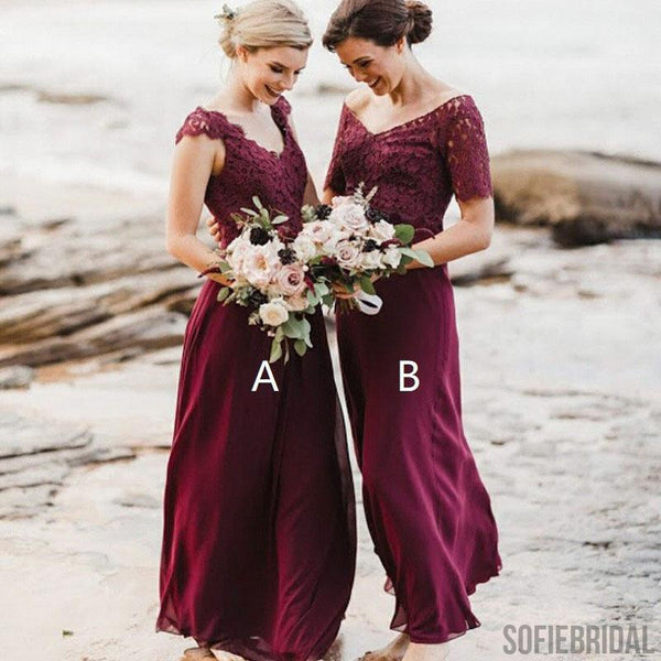 Mismatched Chiffon Lace Bridesmaid Dresses, Beach Wedding Guest Dresses, Cheap Bridesmaid Dresses, PD0509