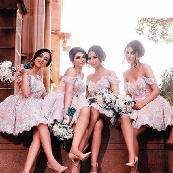 Off Shoulder Lace Bridesmaid Dresses, Cute Bridesmaid Dresses, Cheap Bridesmaid Dresses, PD0391