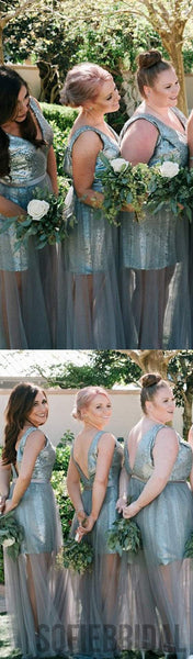 Sequin Tulle Bridesmaid Dresses, Popular Bridesmaid Dresses, Long Bridesmaid Dresses, PD0404