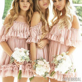Pink Off Shoulder Short Bridesmaid Dresses, Lovely Junior Bridesmaid Dresses, PD0700