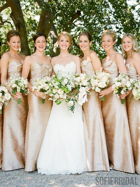 Sweetheart Long Sheath Gold Bridesmaid Dresses, PD0926