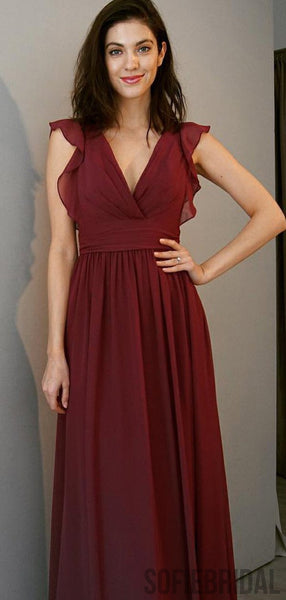 V-neck Long A-line Ruffles Bridesmaid Dresses, PD0967
