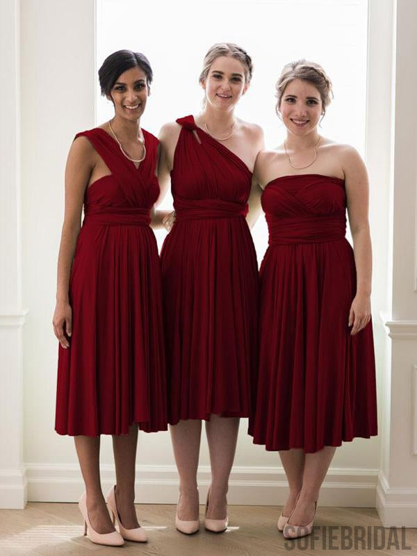 Dark Red Convertible Cheap Popular Bridesmaid Dresses, PD0850