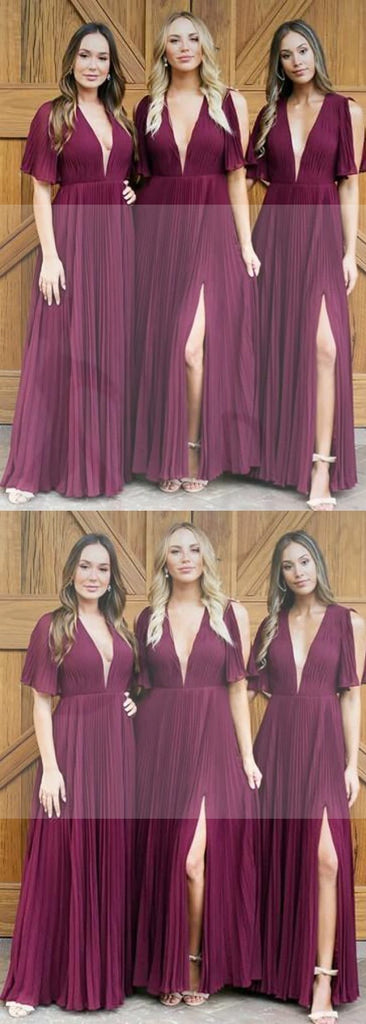 Deep V-neck Short Sleeve Bridesmaid Dresses, Side Slit Bridesmaid Dresses, Long Bridesmaid Dresses, WG200