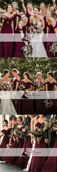 Off Shoulder Bridesmaid Dresses, A-line Bridesmaid Dresses, Long Bridesmaid Dresses, PD0504