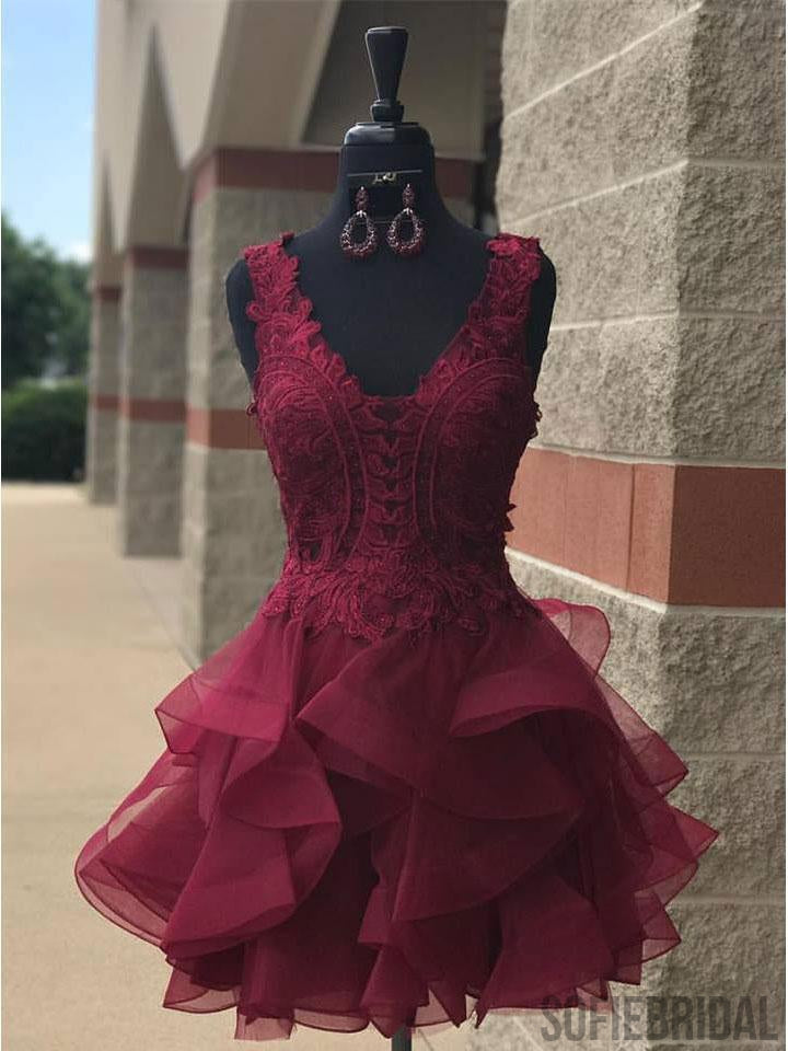 Lace V Neck Cheap Burgundy Homecoming Dresses 2018, CM458