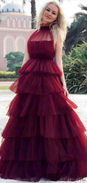 Halter Fluffy Tulle Long A-line Prom/Evening Dresses, PD0863