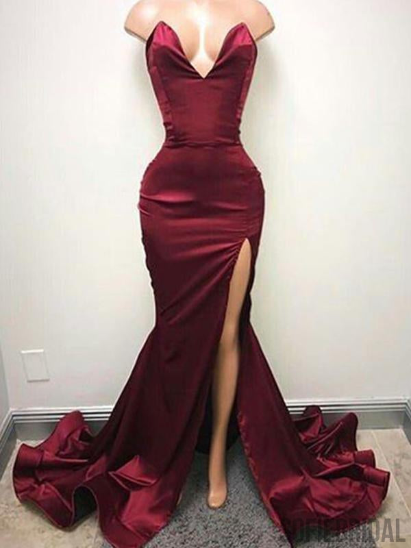 Sexy V-neck Long Mermaid Side Slit Satin Prom Dresses, PD0878