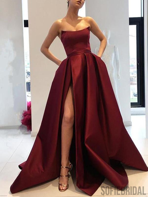 Strapless Long Side Slit Satin Prom Dresses, Cheap Prom Dresses, Long Prom Dresses, PD0729