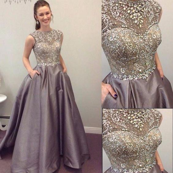 2017 Round Neck Sleeveless Rhinestone A-line Satin Long Prom Dresses, PD0235