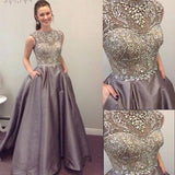 Round Neck Sleeveless Rhinestone A-line Satin Long Prom Dresses, PD0235