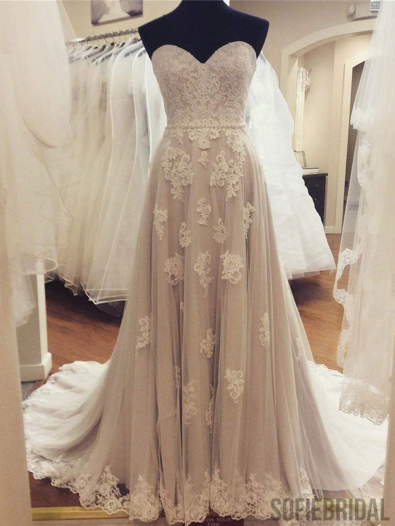 Sweetheart Lace A-line Cheap Wedding Dresses Online, WD346