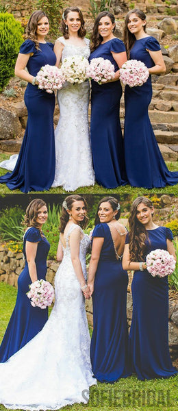 Cap Sleeve Bridesmaid Dresses, Mermaid Bridesmaid Dresses, Cheap Bridesmaid Dresses, PD0403