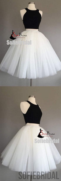 2 Pieces Black Top White Tulle Homecoming Dresses, Homecoming Dresses, Cheap Homecoming Dresses, SF0100